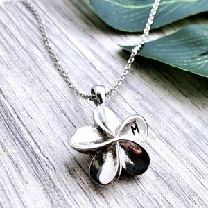 Jewelry - Flower initial urn heart ashes cremation necklace